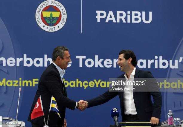 President of Fenerbahce Ali Koc and CEO of Paribu, Yasin Oral attend introduction of the partnership project with Paribu, the crypto asset trading...