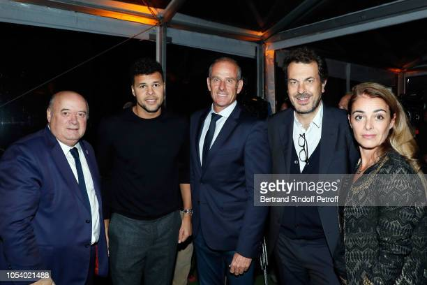 President of FFT Bernard Giudicelli JoWilfried Tsonga Guy Forget Directeur des Sports of France Television LaurentEric Le Lay and his wife Justine Le...