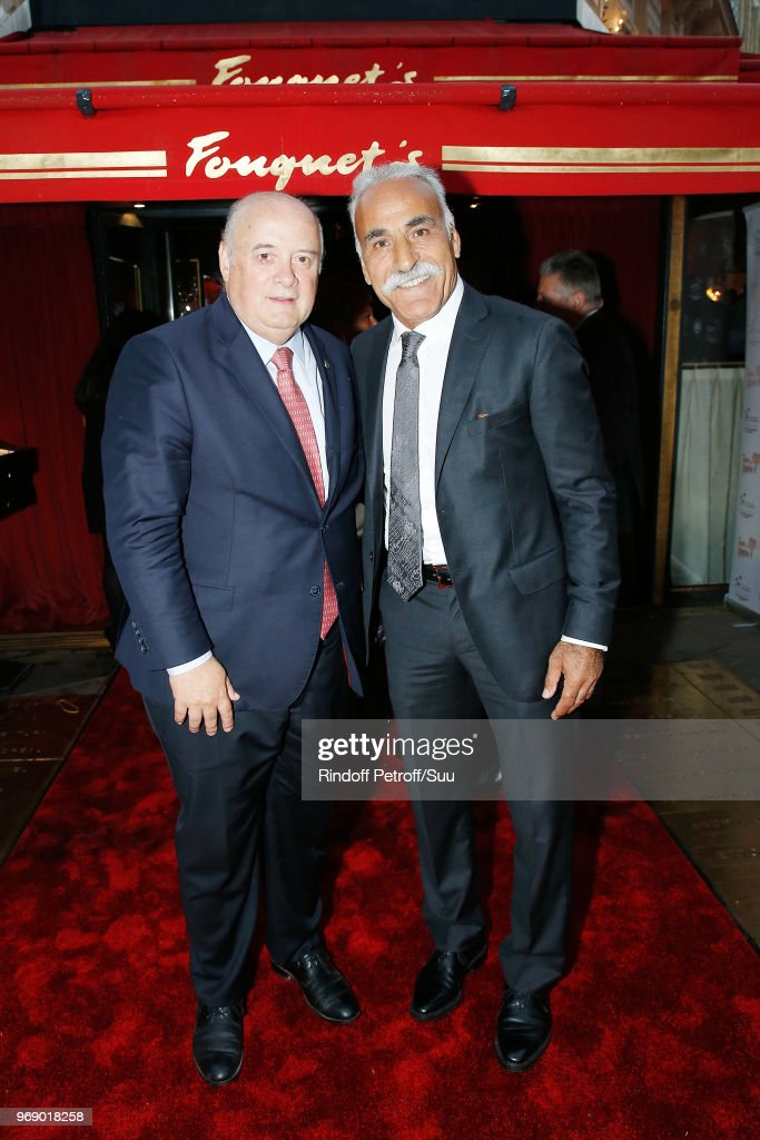 President of FFTennis Bernard Giudicelli and Mansour Bahrami attend 'Diner des Legendes' at Le Fouquet's on June 6, 2018 in Paris, France.
