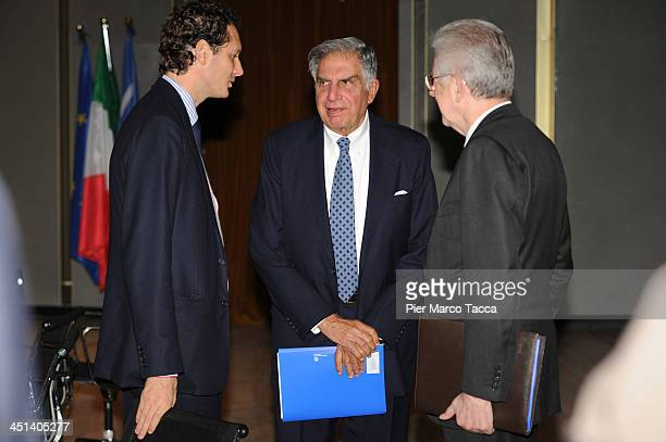 President of FIAT Group John Elkann President of Tata Group Ratan Tata and Former Prime Minister of Italy Mario Monti attend Lecito Inauguralis at...