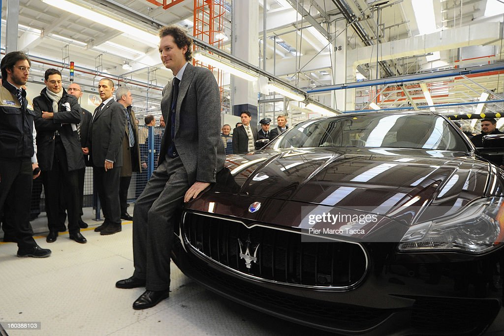 President of FIAT John Elkann, poses near the Maserati Quattroporte during the unveiling of the Maserati Plant in Grugliasco dedicated to Gianni Agnelli on January 30, 2013 in Turin, Italy. The new plant near the company's headquarters in Turin will produce Maserati's new model of luxury saloon cars, the Quattroporte.