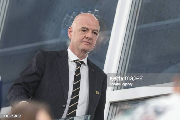 President of FIFA Gianni Infantino attends the FIFA Beach Soccer World Cup 2021 Final match between Russia and Japan at Luzhniki Beach Soccer Stadium...
