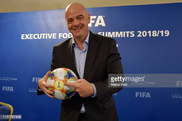 President of FIFA Gianni Infantino attends the FIFA executive football summit press conference on February 27 2019 in Rome Italy