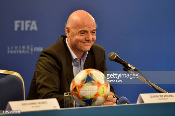 President of FIFA Gianni Infantino gestures during the FIFA executive football summit press conference on February 27 2019 in Rome Italy