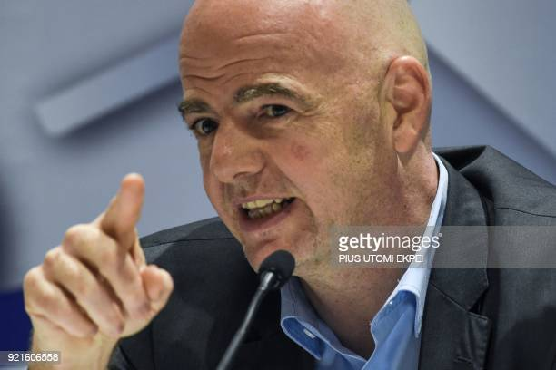 President of FIFA Gianni Infantino gestures while speaking during a press conference at the end of the FIFA executive football summit in Lagos on...
