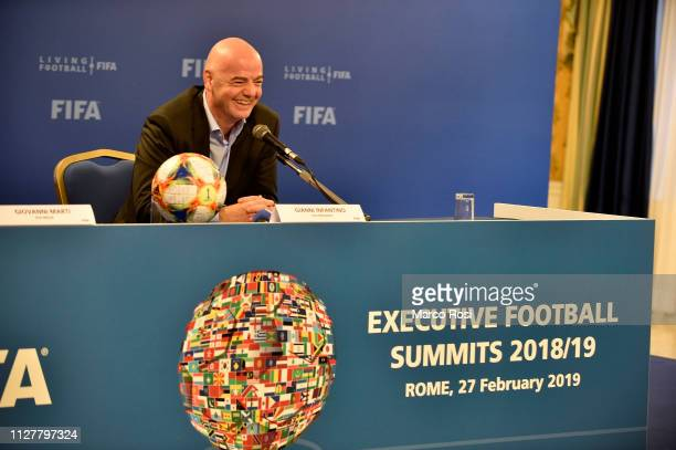 President of FIFA Gianni Infantino smiles during the FIFA executive football summit press conference on February 27 2019 in Rome Italy