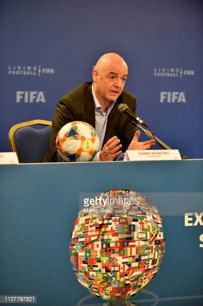 President of FIFA Gianni Infantino speaks during the FIFA executive football summit press conference on February 27 2019 in Rome Italy