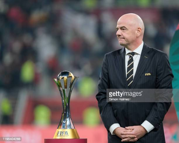President of FIFA, Gianni Infantino, with the FIFA Club World Cup trophy at Khalifa International Stadium on December 21, 2019 in Doha, Qatar.