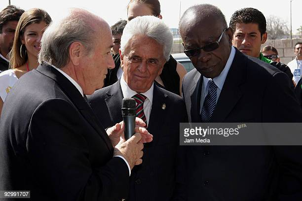President of FIFA Joseph Blatter President of FEMEXFUT Justino Compean and President of CONCACAF Jack Warner during a Visit to Santos' Clubhouse at...