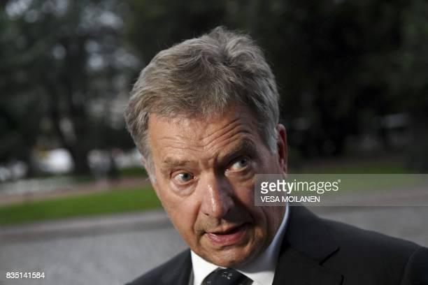 President of Finland Sauli Niinisto arrives for the prayer service at the Turku Cathedral for the victims of Friday's stabbings in Turku Finland...