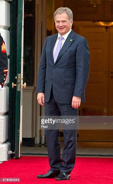 President of Finland Sauli Niinisto arrives for the working dinner for the heads of delegations at the Nuclear Security Summit on the South Lawn of...