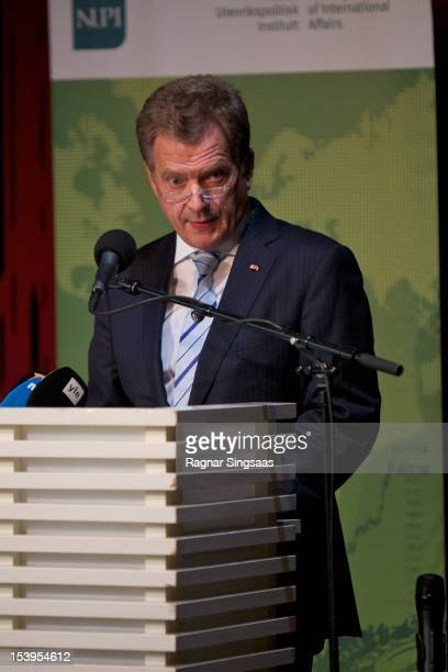 President of Finland Sauli Vainamo Niinisto delivers a speech at the House of Literature during the second day of the Finnish state visit on October...