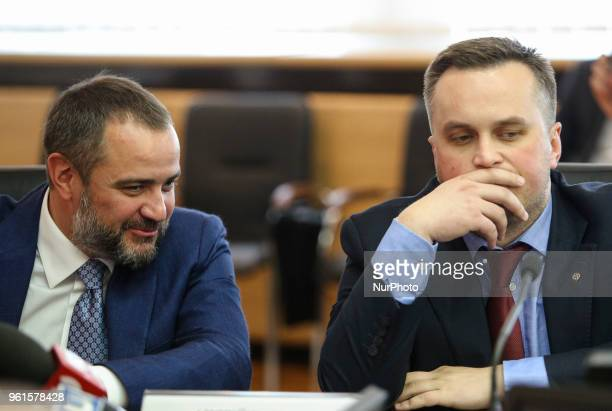 President of Football Federation of Ukraine Andriy Pavelko and the First Vice President of Football Federation of Ukraine Nazar Kholodnytsky talks to...