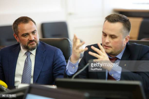 President of Football Federation of Ukraine Andriy Pavelko and the First Vice President of Football Federation of Ukraine Nazar Kholodnytsky talk to...