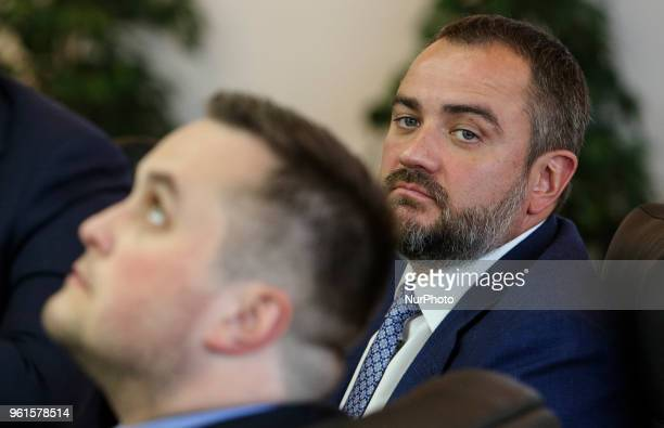 President of Football Federation of Ukraine Andriy Pavelko is seen during the press conference in Kyiv Ukraine May 22 2018 Ukrainian police in...