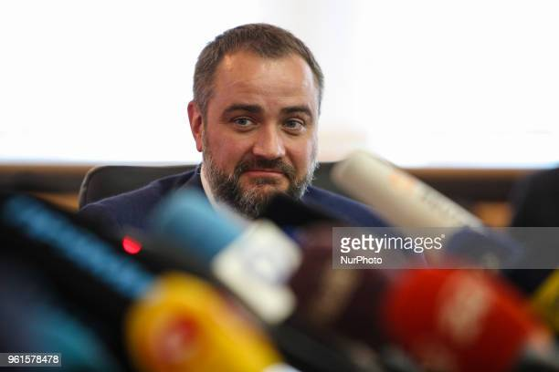 President of Football Federation of Ukraine Andriy Pavelko talks to media during the press conference in Kyiv Ukraine May 22 2018 Ukrainian police in...