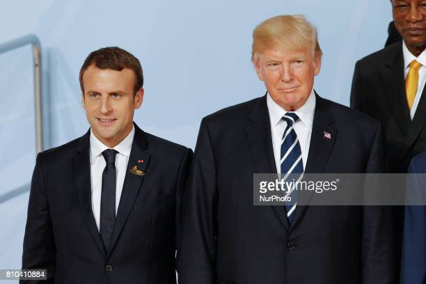 President of France Emanuel Macron and president of the United States Donald Trump are seen during the family photo opportunity at the G20 summit in...