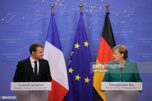 President of France Emmanuel Macron and Chancellor of Germany Angela Merkel hold a joint press conference at the end of the European Union leaders...