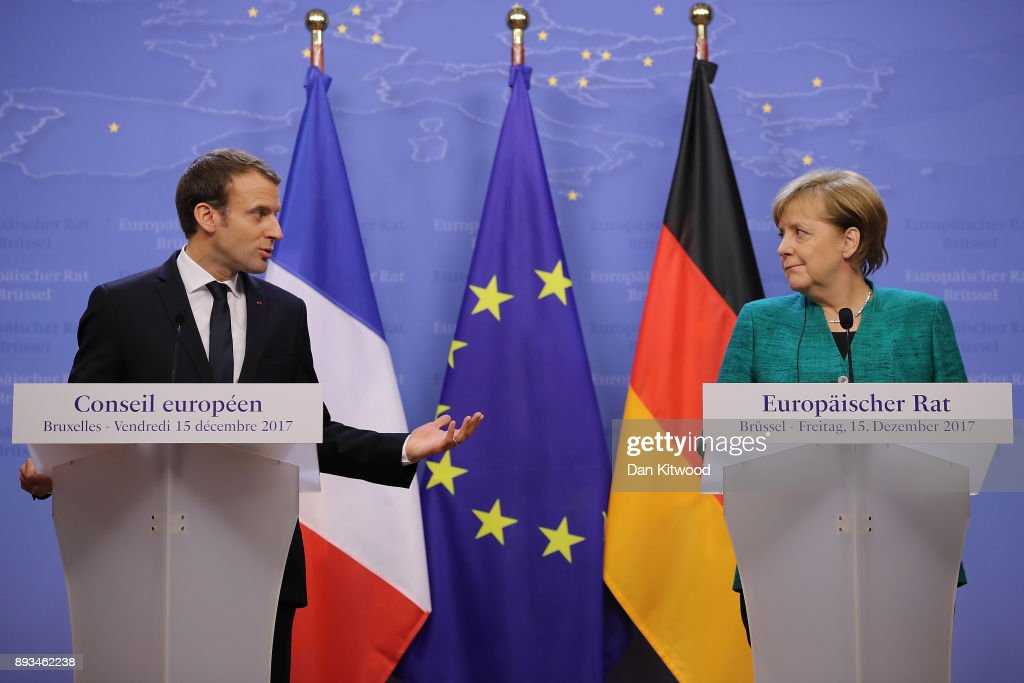 President of France Emmanuel Macron, and Chancellor of Germany Angela Merkel hold a joint press conference at the end of the European Union leaders summit at the European Council on December 15, 2017 in Brussels, Belgium. The European Council summit is meeting for two days to discuss issues related to Brexit, defence, education, immigration and foreign policy.