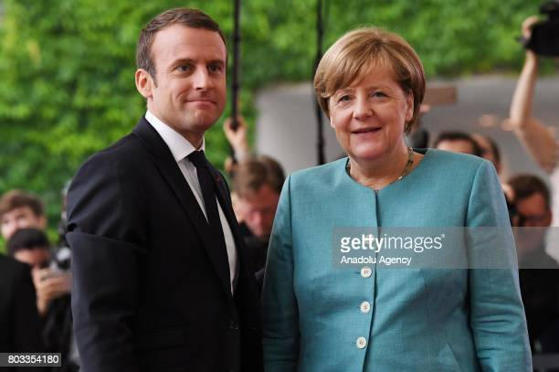 President of France Emmanuel Macron and German Chancellor Angela Merkel pose for a photo prior to a gathering of European leaders on the upcoming G20...