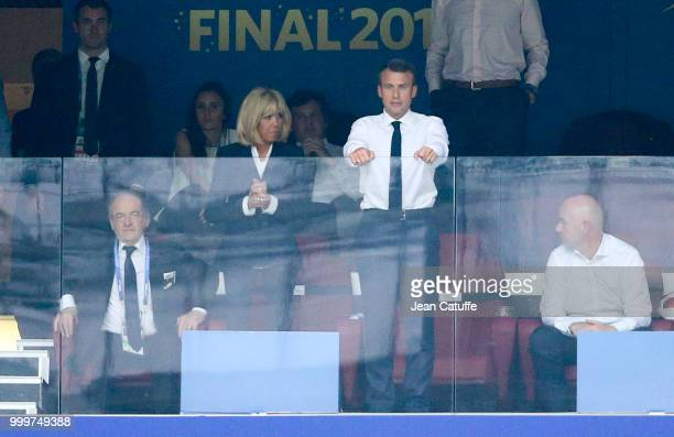 President of France Emmanuel Macron and his wife Brigitte Macron during the 2018 FIFA World Cup Russia Final match between France and Croatia at...