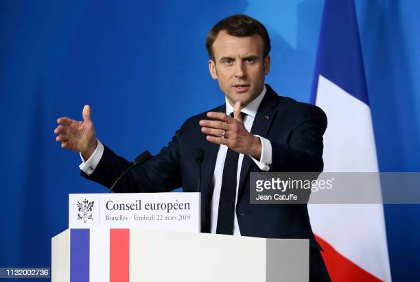 President of France Emmanuel Macron answers to the media during a press conference concluding a two-day European Council meeting of European Union...