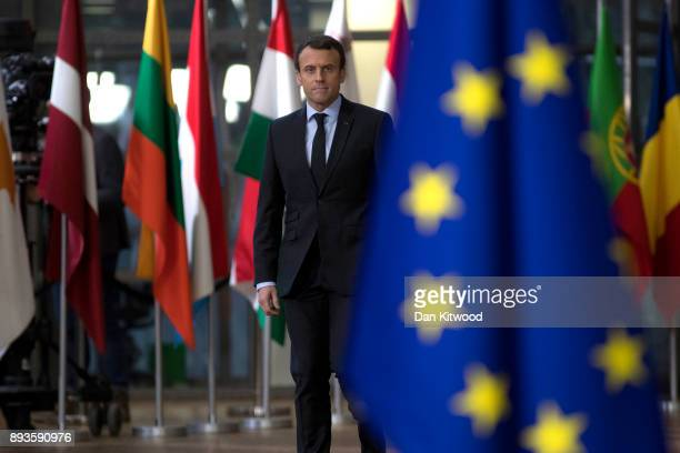 President of France Emmanuel Macron arrives for the European Union leaders summit at the European Council on December 14 2017 in Brussels Belgium The...