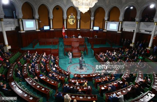 President of France Emmanuel Macron attends a session at the National Assembly in Tunis Tunisia on February 01 2018