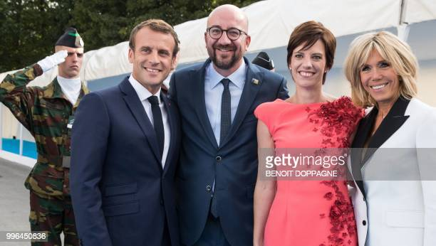President of France Emmanuel Macron Belgian Prime Minister Charles Michel Michel's partner Amelie Derbaudrenghien and wife of French President...