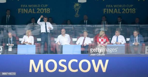 President of France Emmanuel Macron celebrates the first goal of France while President of French Football Federation Noel Le Graet Brigitte Macron...