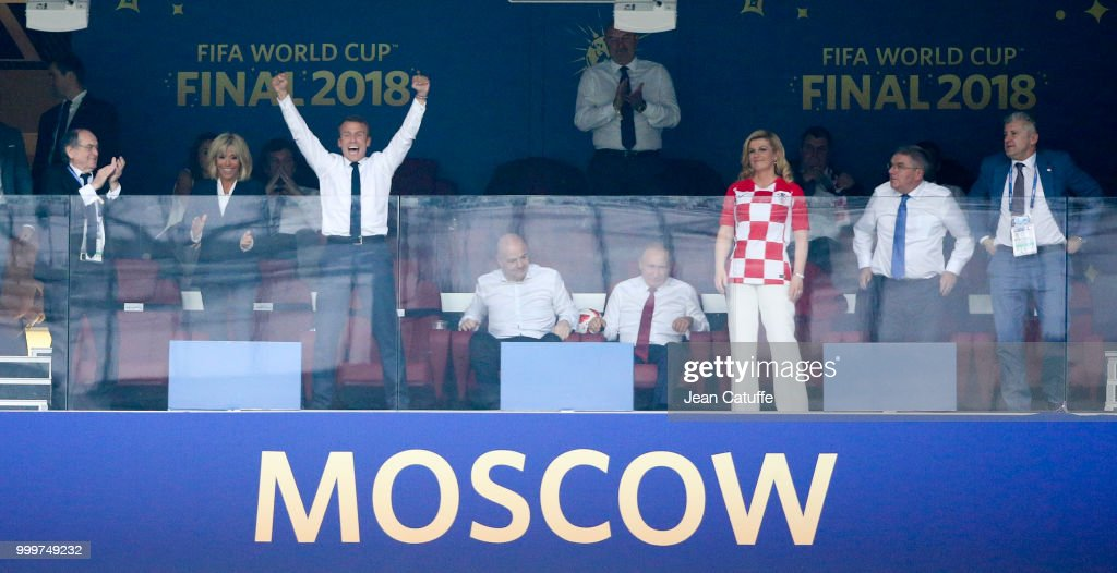 Celebrities Attend France v Croatia Final at 2018 World Cup