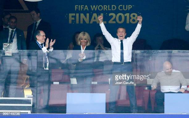 President of France Emmanuel Macron celebrates the victory with his wife Brigitte Macron and President of French Football Federation Noel Le Graet...