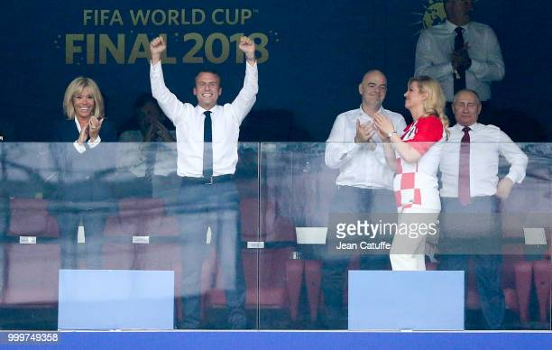 President of France Emmanuel Macron celebrates the victory with his wife Brigitte Macron President of French Football Federation Noel Le Graet while...