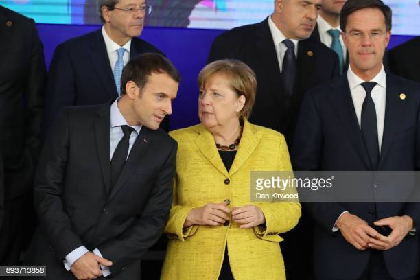 President of France Emmanuel Macron Chancellor of Germany Angela Merkel and Prime Minister of Netherlands Mark Rutte pose for a group photo during...