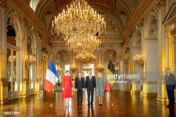 President of France Emmanuel Macron King Philip of Belgium Queen Mathilde and First Lady Brigitte pose for the official picture at the Royal Palace...