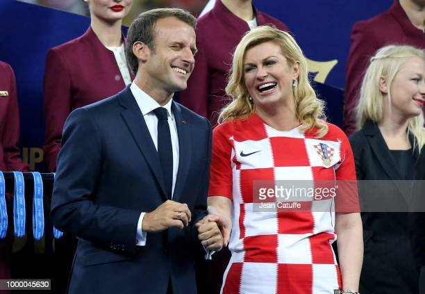 President of France Emmanuel Macron President of Croatia Kolinda GrabarKitarovic during the trophy ceremony following the 2018 FIFA World Cup Russia...