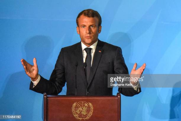 President of France Emmanuel Macron speaks at the Climate Action Summit at the United Nations on September 23, 2019 in New York City. While the...