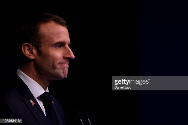 President of France Emmanuel Macron speaks during a press conference on day 2 of sessions of Argentina G20 Leaders' Summit 2018 at Costa Salguero on...