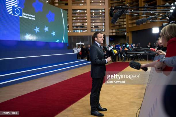 President of France Emmanuel Macron speaks to the media during the European Union leaders summit at the European Council on December 14 2017 in...