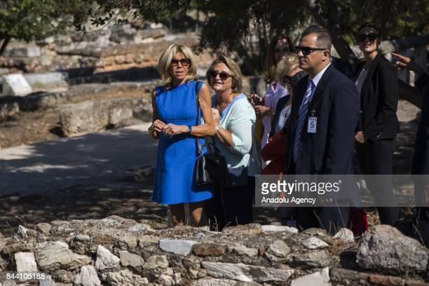 President of France Emmanuel Macron's wife Brigitte Macron and Prime Minister of Greece Alexis Tsipras' wife Vlassia PavlopoulouPeltsemi visit the...
