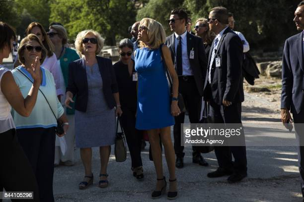 President of France Emmanuel Macron's wife Brigitte Macron visits the Ancient Agora in Athens Greece on September 08 2017