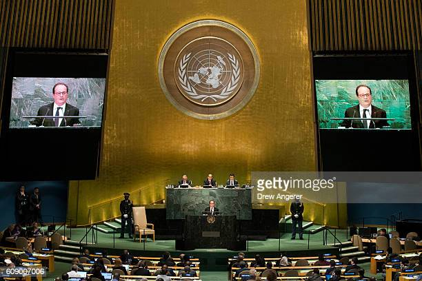 President of France Francois Hollande addresses the United Nations General Assembly at UN headquarters September 20 2016 in New York City According...