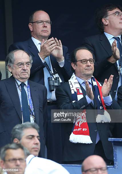 President of France Francois Hollande and above Prince Albert II of Monaco attend the UEFA Euro 2016 final between Portugal and France at Stade de...