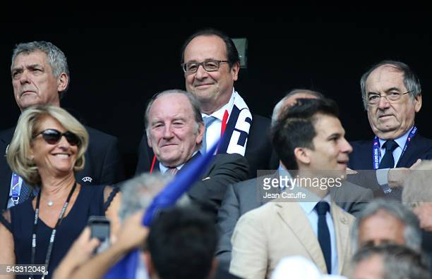 President of France Francois Hollande and Noel Le Graet President of French Football Federation attend the UEFA EURO 2016 round of 16 match between...