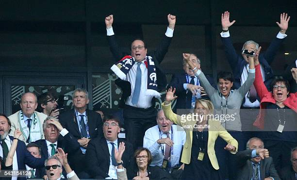 President of France Francois Hollande French Minister of Education Najat VallaudBelkacem celebrate the second goal of France during the UEFA EURO...