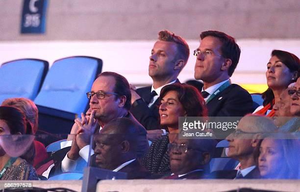 President of France Francois Hollande his sports adviser Nathalie Iannetta Prime Minister of the Netherlands Mark Rutte attend the opening ceremony...