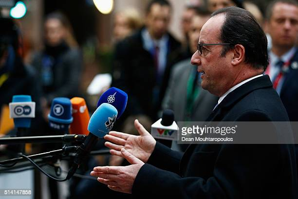 President of France Francois Hollande speaks to the media prior to The European Council Meeting In Brussels held at the Justus Lipsius Building on...