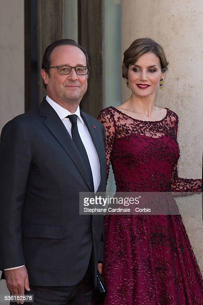 President of France François Hollande and Her Majesty The Queen Letizia of Spain pose before the State Dinner at the Elysee Palace on June 2 2015 in...