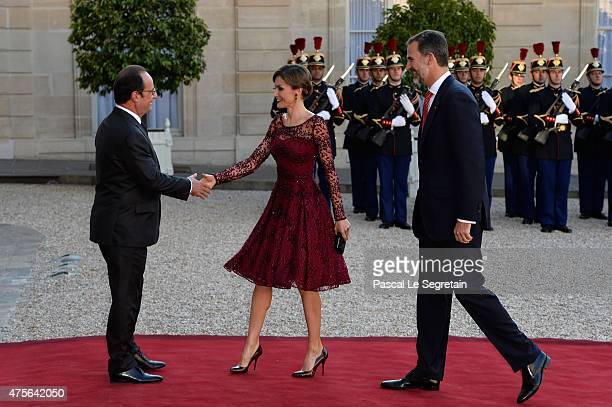 President of France François Hollande Her Majesty The Queen Letizia of Spain and His Majesty The King Felipe VI of Spain arrive for the State Dinner...