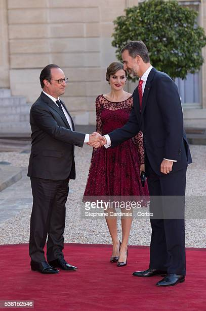 President of France François Hollande receives Her Majesty The Queen Letizia of Spain and His Majesty The King Felipe VI of Spain for the State...